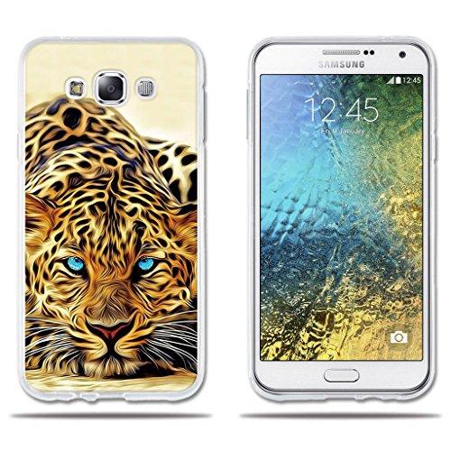 "fubaoda Funda Samsung Galaxy E7 Exótico Dibujo de un Leopardo de Ojos Azules,Amortigua los Golpes, Funda Protectora Anti-Golpes para Samsung Galaxy E7 (5.5"")"