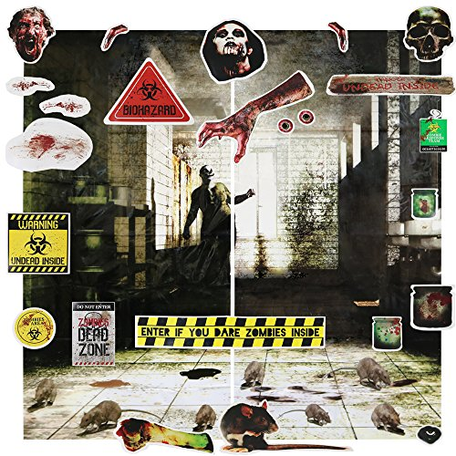 com-four® 26-teiliges Halloween Wand Deko Set, Horror Party Dekoration zum Schmücken von Wänden, Türen, Fenstern und Mehr - Halloween Dekoration (01 Stück - Wanddeko (Halloween Wand)