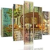 Feeby Frames, Cuadro de pared - 5 partes - Cuadro decorativo, Cuadro impreso, Cuadro Deco Panel, Tipo A, 70x100 cm, VINTAGE, RADIO, PRETZELS, CAFÉ, FLORES, DOBLE EXPOSICIÓN, MULTICOLOR