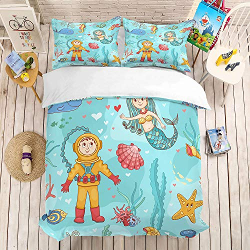 Bettwäsche-Set Meerjungfrau Druck 3 Stück Set Bettwäsche 100% Mikrofaser für Zuhause Schlafzimmer Dekoration (1 Bettbezug + 2 Kissenbezüge) C-Queen(228cm*228cm) -