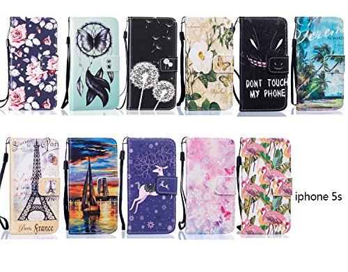 Case pour la Apple iPhone 5 / 5s / SE Coque,Campanula plume Étui en PU Cuir Phone Case Cover Couverture Fonction Support avec Fermeture Aimantée de Feuille Motif Imprimé+Bouchons de poussière (6DF) 6