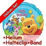 Folienballon Set * WINNIE THE POOH * + HELIUM FÜLLUNG + HALTE CLIP + BAND * für Kindergeburtstag und Motto-Party // Kinder Geburtstag Folien Ballon Helium Deko Ballongas Motto Winnie the Pooh