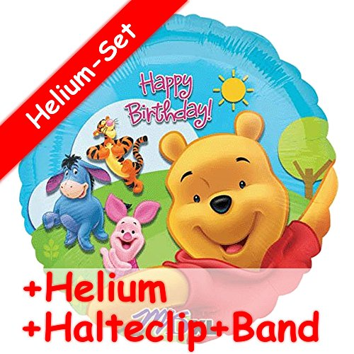Folienballon Set * WINNIE THE POOH * + HELIUM FÜLLUNG + HALTE CLIP + BAND * für Kindergeburtstag und Motto-Party // Kinder Geburtstag Folien Ballon Helium Deko Ballongas Motto Winnie - Winnie Band The Pooh