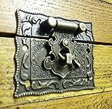 Lock clasp box closer latch hasp ornate c/w screws bronze finish C035