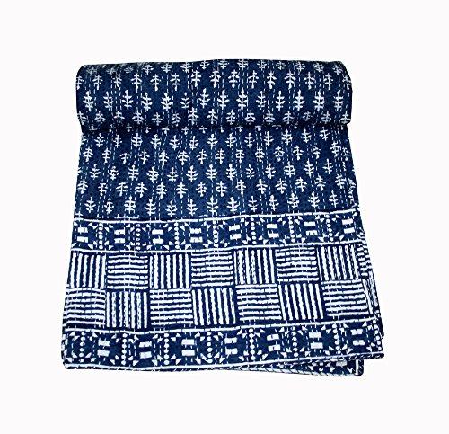 silkroude Indigo Blaue Farbe Hand Block gedruckt Kantha Quilt King Size, Patchwork Baumwolle Tagesdecke, Made, gestaltet von Indien 88x 106ca. Zoll (Patchwork Indigo)