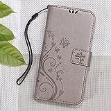Imprinted Butterfly Flower Wallet Leather Mobile Tasche Hüllen Schutzhülle für ZTE Blade X3 - grau