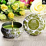 Archies Scented Candles With Jar And Lid (Green Tropical Print, Glass) -Pack Of 2