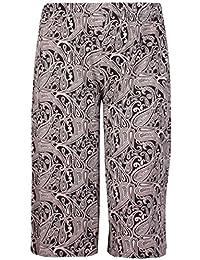 Femmes Grande Taille Floral Pois Imprimé Paisley Femme Extensible Taille Élastique Jambe Large Culottes Short