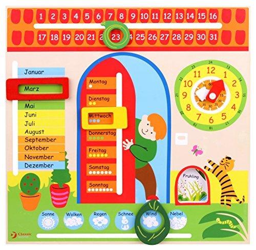 Lernspielzeug Kalender mit Lernuhr Wochentage Monate Jahreszeiten usw