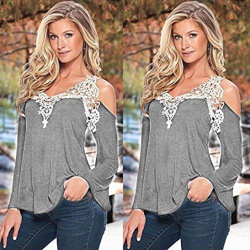 Tonsee® Loose Women manches longues en dentelle sexy épissage dames chemise blouse tee sommets Gris