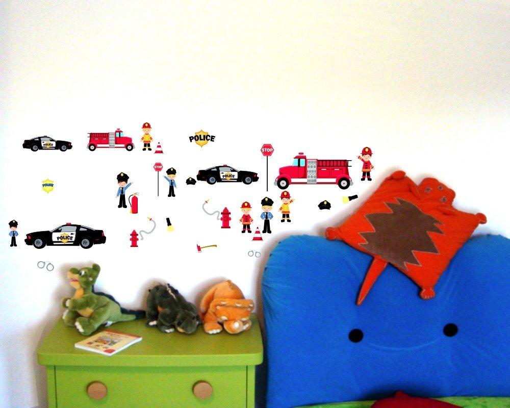 Adesivi da parete per cameretta bambini, motivo vigili del fuoco ...