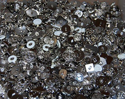 Knöpfe zum Nähen und Basteln, verschiedene metallische Farben und Größen, 100g, plastik, silber (Girl-scout-puppe)