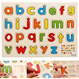FunBlast® Wooden Colorful Learning Educational Board For Kids With Knobs, Educational Learning Wooden Board Tray, SIZE- 30 X 22 CM, Available In 8 Different Variants (Small Letters)