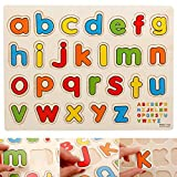 #10: FunBlast® Wooden Colorful Learning Educational Board for Kids With Knobs, Educational Learning Wooden Board Tray, SIZE- 30 X 22 CM, Available in 8 Different Variants (Small Letters)