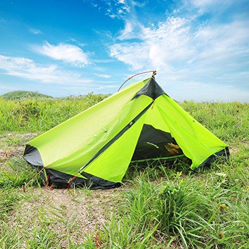 WolfWise 2 Personen Trekkingzelt, Professionelles Campingzelt Familienzelt Gruppenzelt Ultraleicht Zelt, für Camping/Wandern/Outdoor Backpacking, mit Tragetasche, Wasserdicht (Olivgrün)