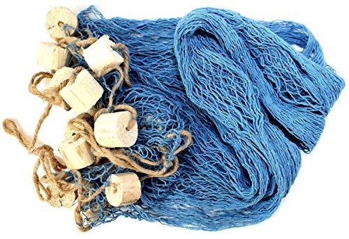 Deko Netz Fischernetz ca. 250x250cm BLAU Baumwolle Maschen 2x2cm mit Schwimmern