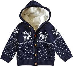Huhu833 Baby Jacke Baby Mantel, Kleinkind Unisex Baby Button-up Baumwolle Mantel Deer Weihnachten Strickjacke