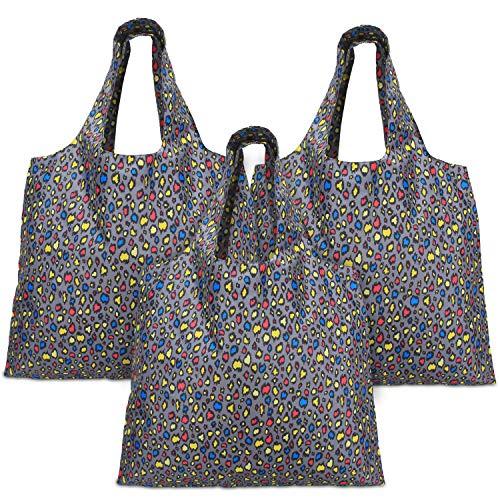 Luxja einkaufstasche faltbar, einkaufsbeutel Wiederverwendbare, faltbare einkaufstaschen mit angebrachtem Beutel, Waschbar, Dauerhaft und Leicht, 3 Stück, Bunte Flecke