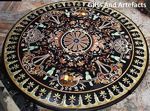 121,9cm schwarz rund Marmor Esstisch Top Einlegearbeiten Art Inlay Pietra Dura Design