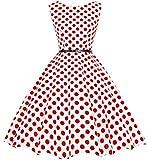 Bbonlinedress 50s Retro Schwingen Vintage Rockabilly kleid Faltenrock White Red Big Dot L
