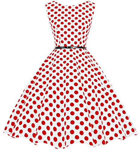 bbonlinedress 50s Retro Schwingen Vintage Rockabilly Kleid Faltenrock White Red Big Dot 2XL
