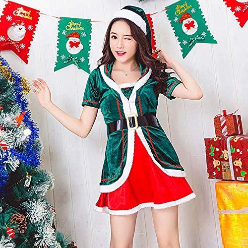 SPFAZJ Santa Anzug Kostüm grüne Weihnachtskostüm Kurzarm-weibliche Rollenspiel Uniform Set