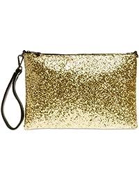 CASPAR TA341 große Damen XL Glitzer Pailletten Clutch Tasche Abendtasche mit Handschlaufe