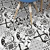 JY ART VZYX Fliesenaufkleber Dekorative Wandgestaltung mit Fliesenaufklebern für Küche und Bad, Deko-Fliesenfolie für Küche u. Geometrische Linien Schwarz und Weiß Dekoration CZ068, 20cm*100cm*5pcs