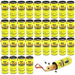 BUZIFU 32 Rouleaux de Ruban Autocollant Anti Mouches Piège Attrape de Papier Collant Stickers Suspendus Sûr Non Toxique pour Tuer Mouche Moustiques Insectes Volants Protéger Votre Famille en Été