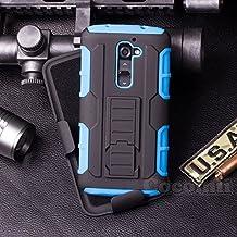 LG G2 Funda, Cocomii Robot Armor NEW [Heavy Duty] Premium Belt Clip Holster Kickstand Shockproof Hard Bumper Shell [Military Defender] Full Body Dual Layer Rugged Cover Case Carcasa (Blue)