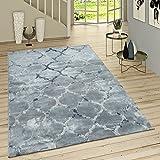 Paco Home Kurzflor Teppich Modern Marokkanisches Muster Vintage Style Ombre Look Grau Blau, Grösse:155x230 cm