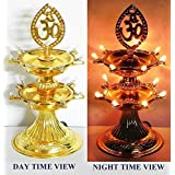 Zoroo New Electric Gold LED Bulb Lights Diya / Deep / Deepak For Pooja / Puja / Mandir Diwali Festival Decoration (2 Layer)