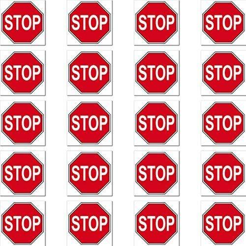 Zeichen 20 (20 Stück 2cm Stop Schild Zeichen Symbol RC Modellbau Mini Aufkleber Sticker Modellbauaufkleber)