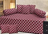 #9: Diwan Set Of 8 Pieces -Maroon-Checkkered-Chain Pattern