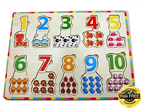 Holzpuzzle Bunte Zahlen 1-10 mit Tieren, bestes Puzzle ein Geduldsspiel, Knobelspiel für Mädchen und Jungen; Kinderspielzeug zum Lernen; Steckpuzzle mit AUSTAUSCHGARANTIE