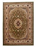 Tapiso YESEMEK Klassisch Teppich Kurzflor Orientalisch Teppiche Ziegler Floral Medaillon Muster und Bordüre in Grün Beige Elegant Barock Design Wohnzimmer ÖKOTEX 250 x 350 cm