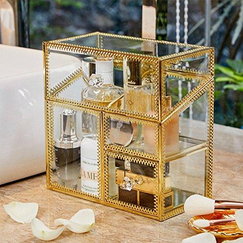 PuTwo Makeup Organisator Handgemachte Vintage Schmink Aufbewahrung Metall Glas Kosmetik Organizer...