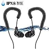 AGPTEK IPX8 Wasserdichte Kopfhörer, E13 IPX8 Kopfhörer mit Ohrbügel für Sport & Schwimmen, Schwarz