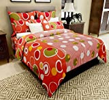 Home Candy 144 TC Polka Cotton Double Bedsheet with 2 Pillow Covers - Orange
