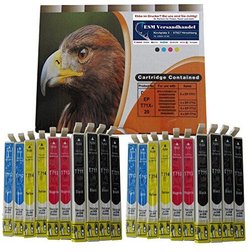 20 Druckerpatronen komp. für Epson T711 T712 T713 T714 8x schwarz 4x...