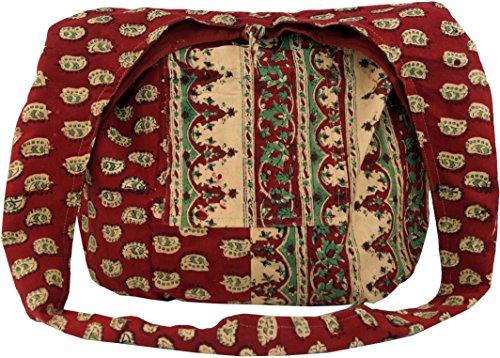 Guru-Shop Sadhu Bag, Umhängetasche, Blockdruck Hippie Schultertasche - Rot/paisley, Herren/Damen, Baumwolle, Size:One Size, Bunter Stoffbeutel -