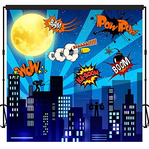 Musykrafties Super Hero-Stadt-Kulisse, Banner, 2,1 x 2,1 m (Requisiten Foto Party-stadt)