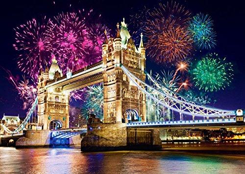Unbekannt Puzzle 500 Teile - London -Tower Bridge - mit Feuerwerk / Silvester - Brücke England Themse - Skyline Stadtmotiv / Städtepuzzle