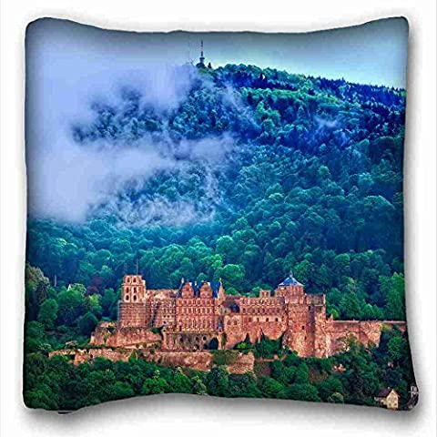 Soft Pillow Case Cover ( Landscapes Famous Castle Heidelberg Germany ) Popular 16x16 inch One Side Pizza Rectangle Pillowcase suitable for Twin-bed