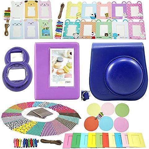 Katia Mini 8 de la cámara instantánea Paquetes accesorios conjunto adecuado para Fujifilm Mini 8 Cámara - Instax Mini libro Álbum - Mini 8 Primer plano de la lente de espejo de autorretrato - Decoración colorido pegatina Borders - colorida decoración de la pared marco colgante - Set3 - púrpura oscura