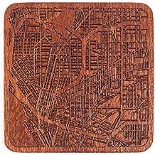 Buffalo, NY Map Coaster, One piece, Sapele Wooden Coaster with city map, Multiple city optional, Handmade