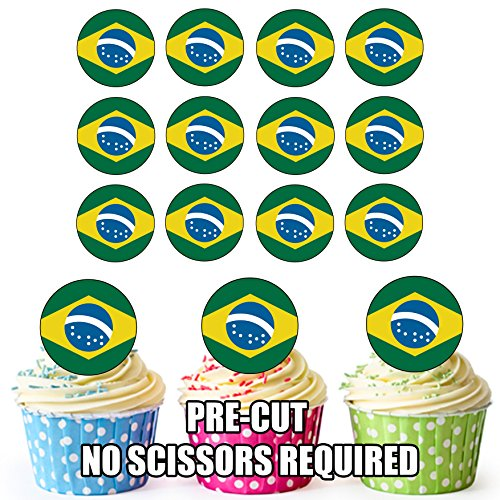 AK Giftshop Essbare Cupcake-Dekorationen mit Brasilien-Flagge, 24 Stück