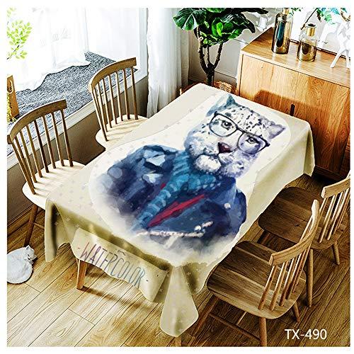 QWEASDZX Tischdecke Digitaldruck Polyester Rechteckige Tischdecke Ölbeständiges Antifouling Quadratische Tischdecke Wiederverwendbar Geeignet für Innen und Außen 150x210cm