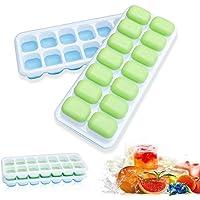 Lot de 2 bacs à glaçons en silicone et 14 bacs à glaçons flexibles avec couvercle amovible anti-déversement, sans BPA…