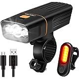 OMERIL Luce LED per Bicicletta Ricaricabile USB, Set Fanalini per Bicicletta Anteriore e Posteriore Impermeabile, con 3 LED e 3 Modalità di Illuminazione,Luci Bici per Strada e Montagna di Notte